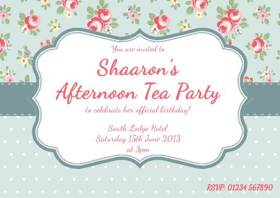 Afternoon Tea Menu Template Invitation High Tea Template