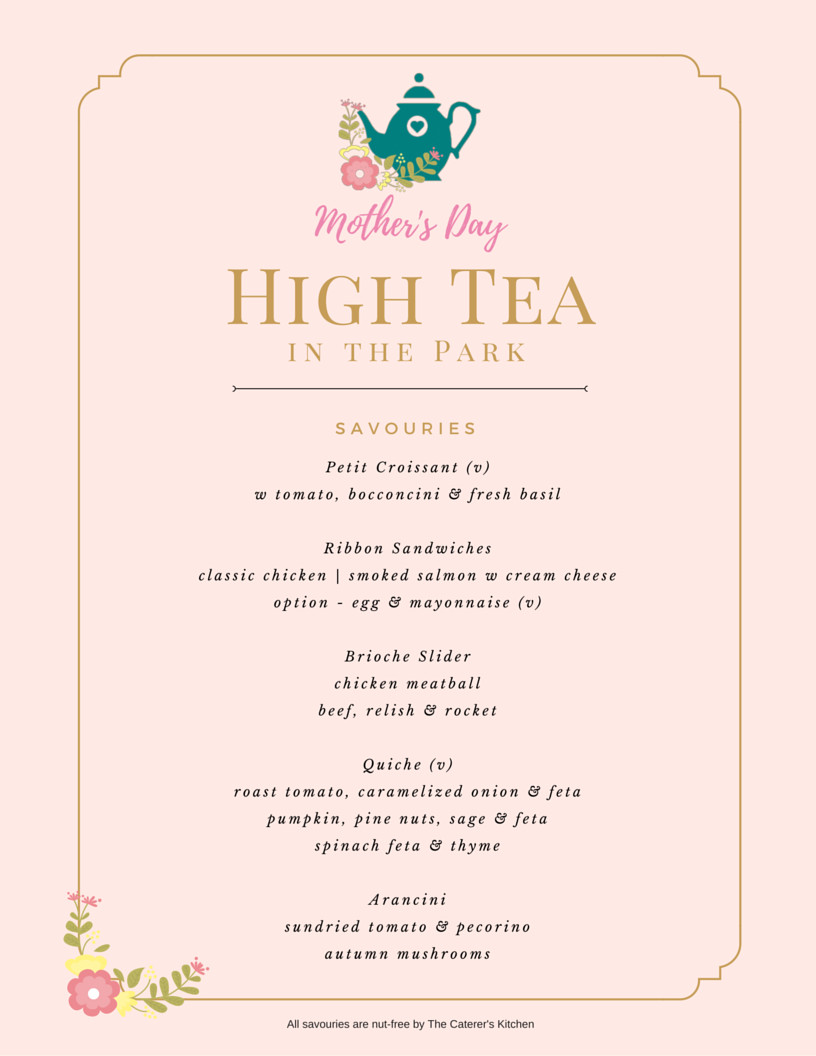 Afternoon Tea Menu Template Mother S Day High Tea In the Park Tickets Sun 08 05 2016