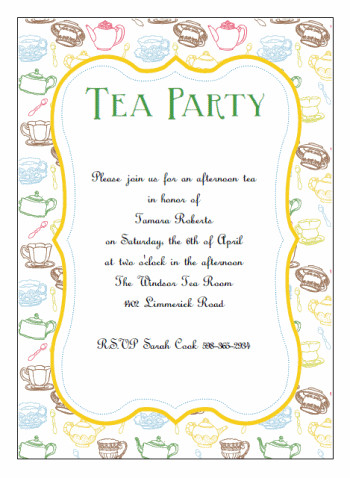 Afternoon Tea Menu Template Printable Tea Party Invitations La S Tea In 2019