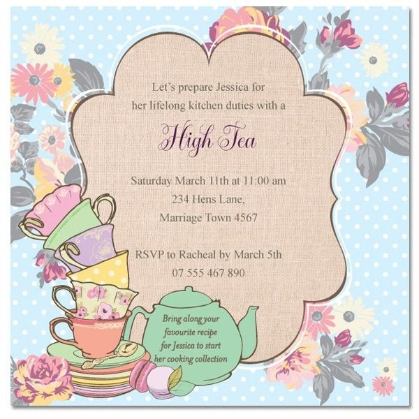 Afternoon Tea Menu Template Tea Invitation Templates
