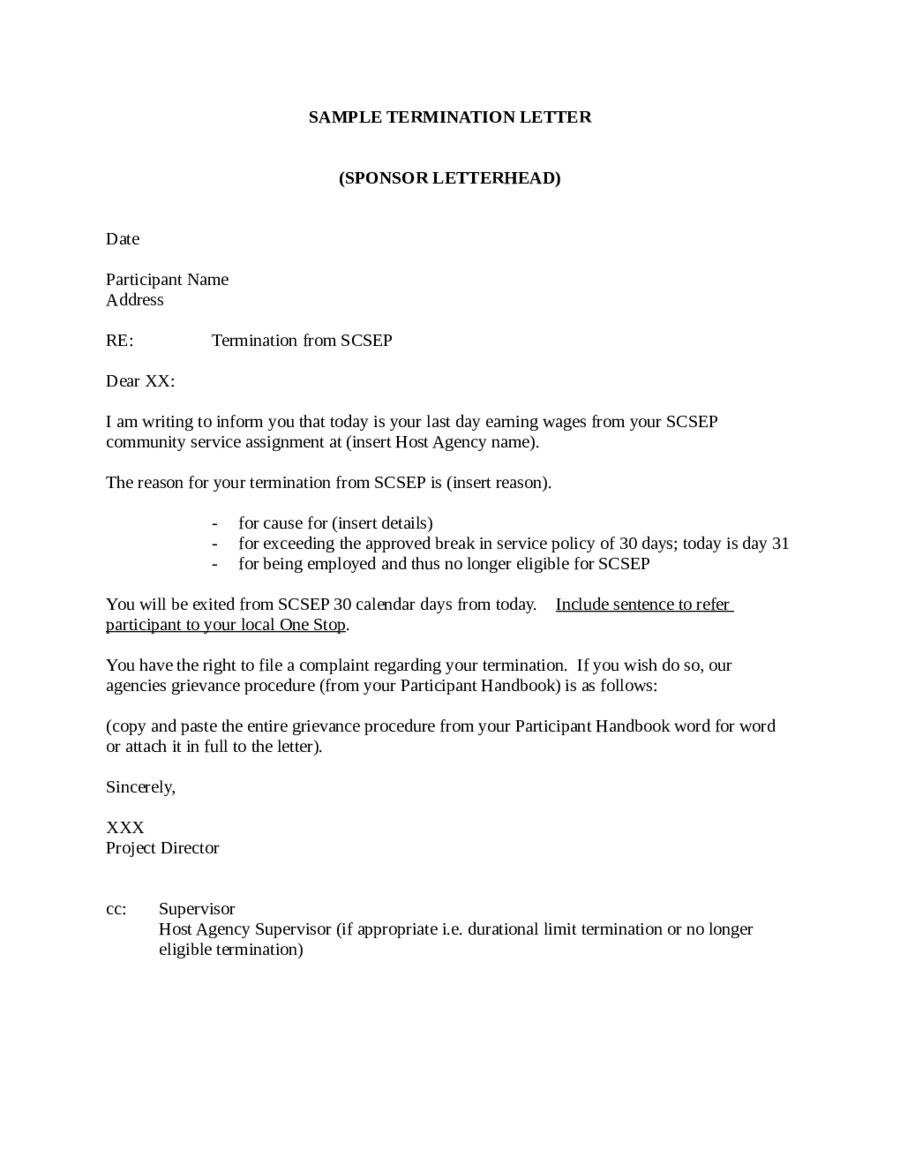Agent Termination Letter Sample 2018 Termination Letter Templates Fillable Printable