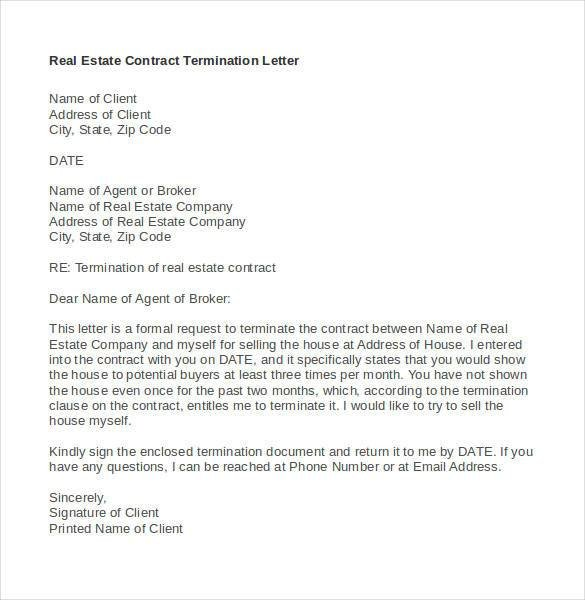 Agent Termination Letter Sample 21 Contract Termination Letter Templates Pdf Doc