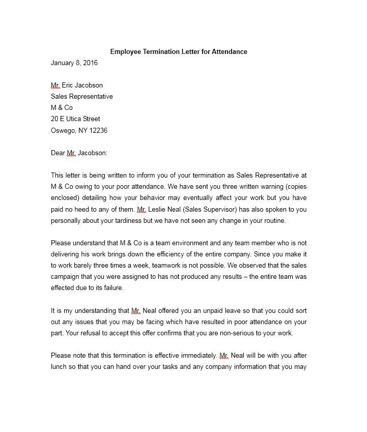 Agent Termination Letter Sample 35 Perfect Termination Letter Samples [lease Employee