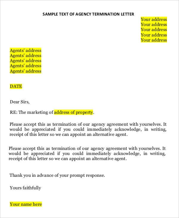 Agent Termination Letter Sample 41 Sample Termination Letter Templates Word Pdf Ai