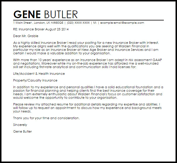 Agent Termination Letter Sample Insurance Broker Cover Letter Sample
