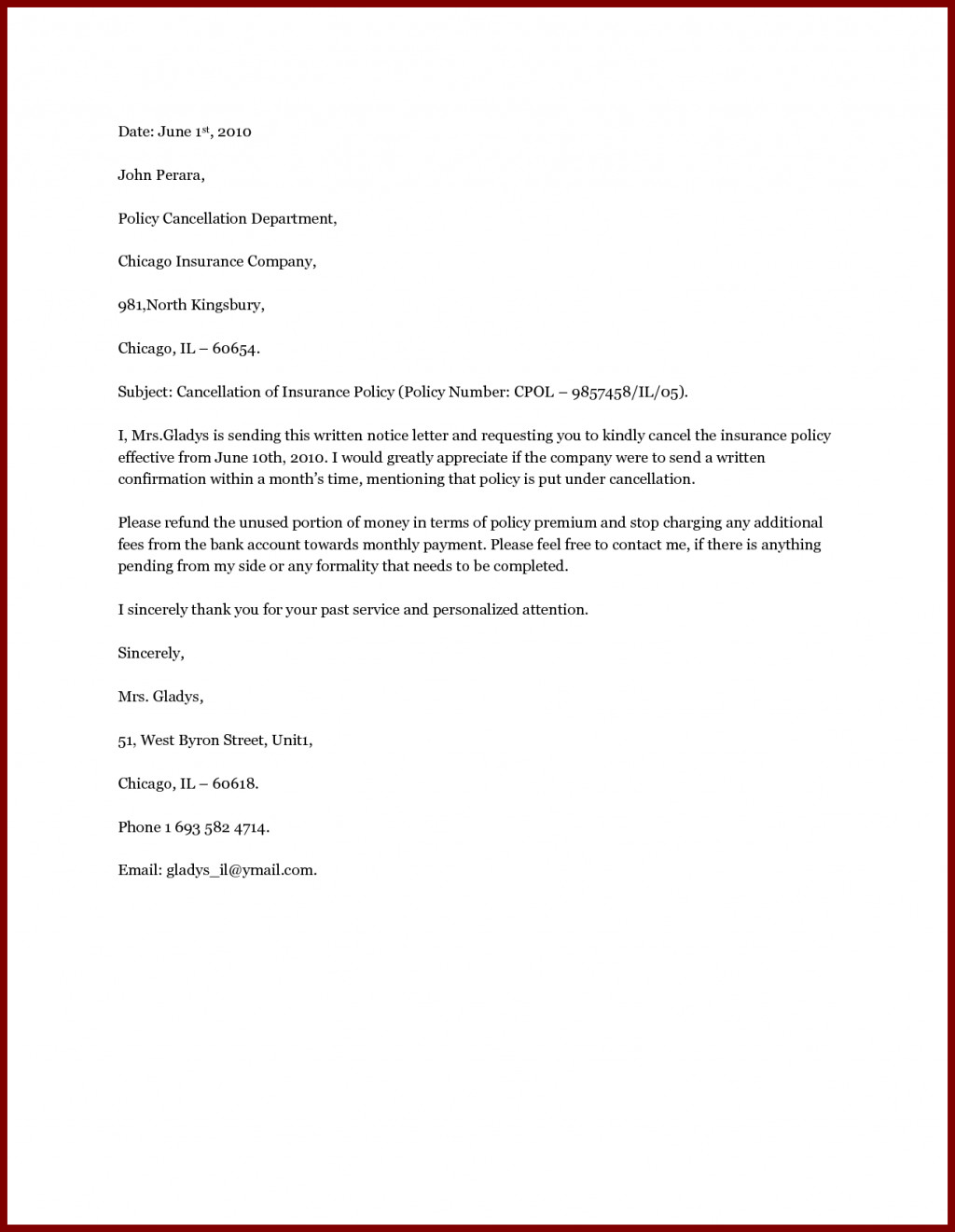 Agent Termination Letter Sample Insurance Termination Letter Printable Free Download