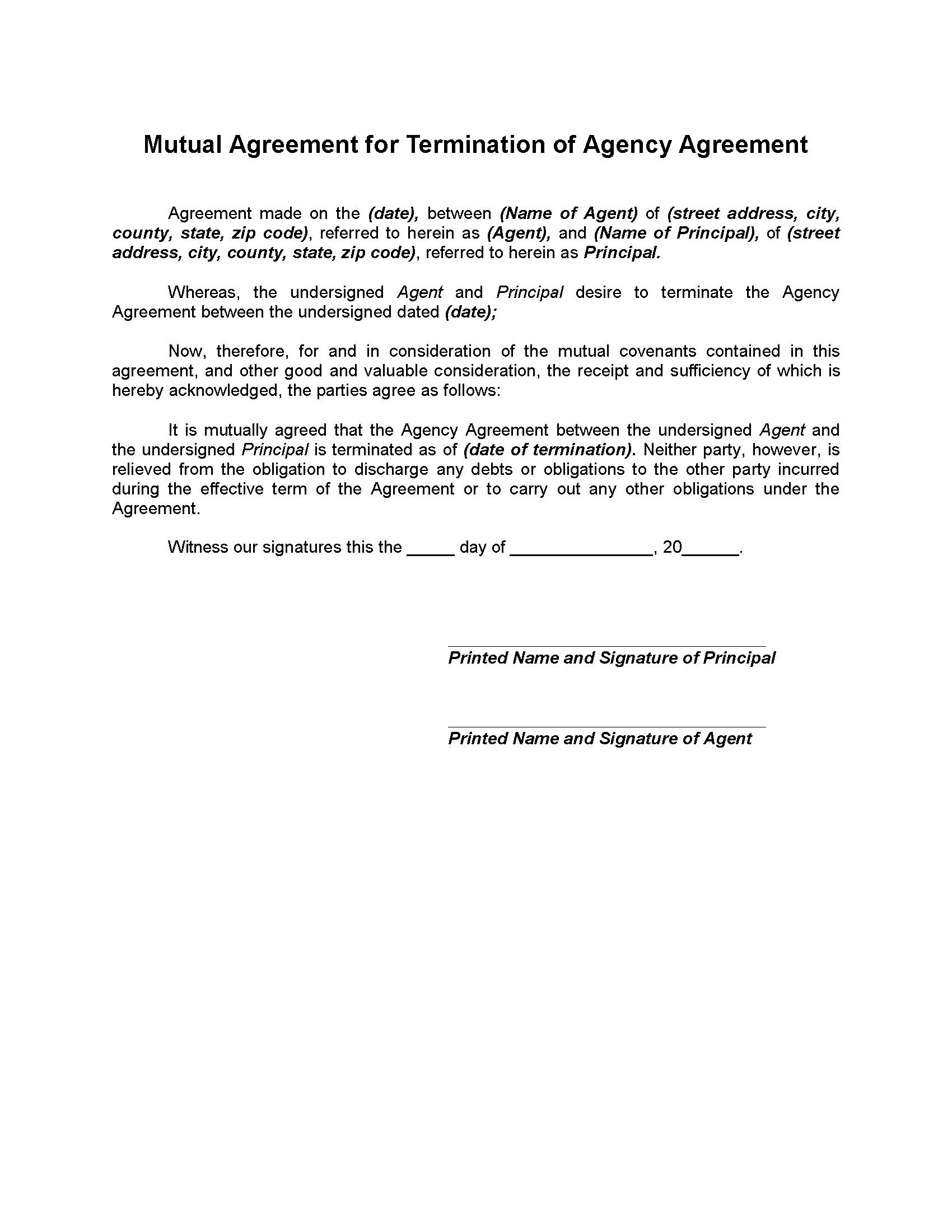 Agent Termination Letter Sample Mutual Termination Of Agency Agreement