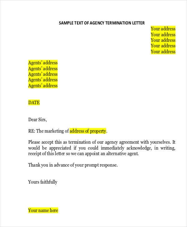 Agent Termination Letter Sample Termination Letter format