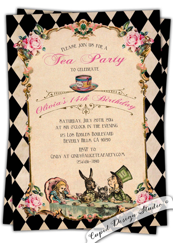 Alice In Wonderland Invitations Templates Alice In Wonderland Birthday Invitation Baby by Cupiddesigns