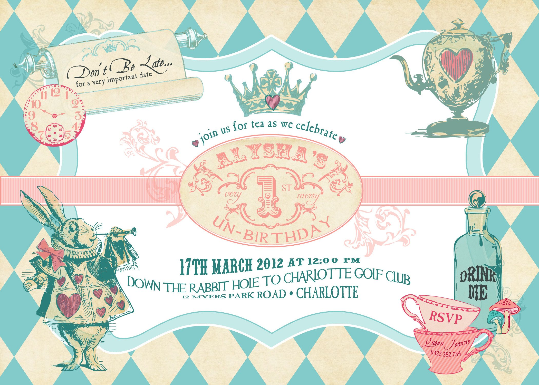 Alice In Wonderland Invitations Templates Alice In Wonderland Birthday Invitations