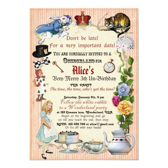 Alice In Wonderland Invitations Templates Alice In Wonderland Birthday Party Invitation