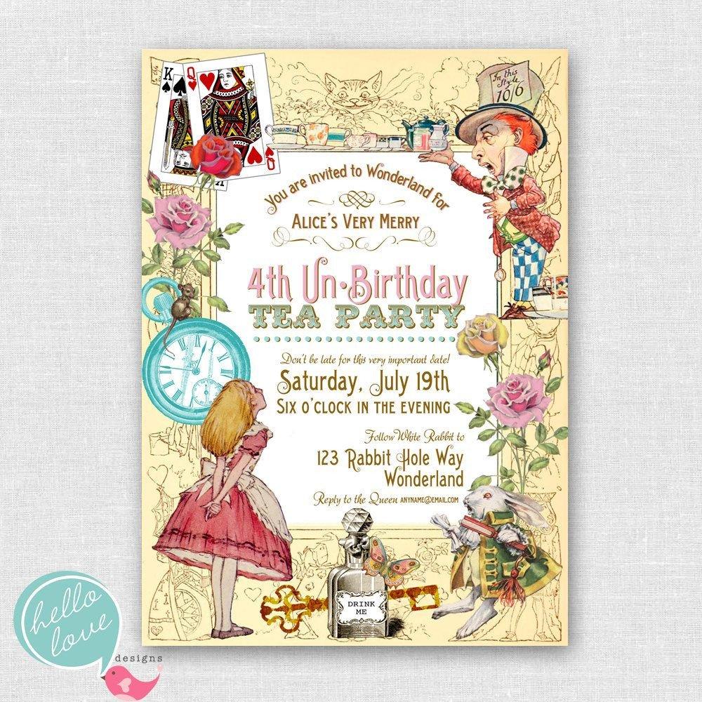 Alice In Wonderland Invitations Templates Alice In Wonderland Birthday Party Invitations Free