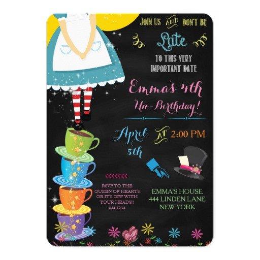 Alice In Wonderland Invitations Templates Alice In Wonderland Chalkboard Birthday Invitation