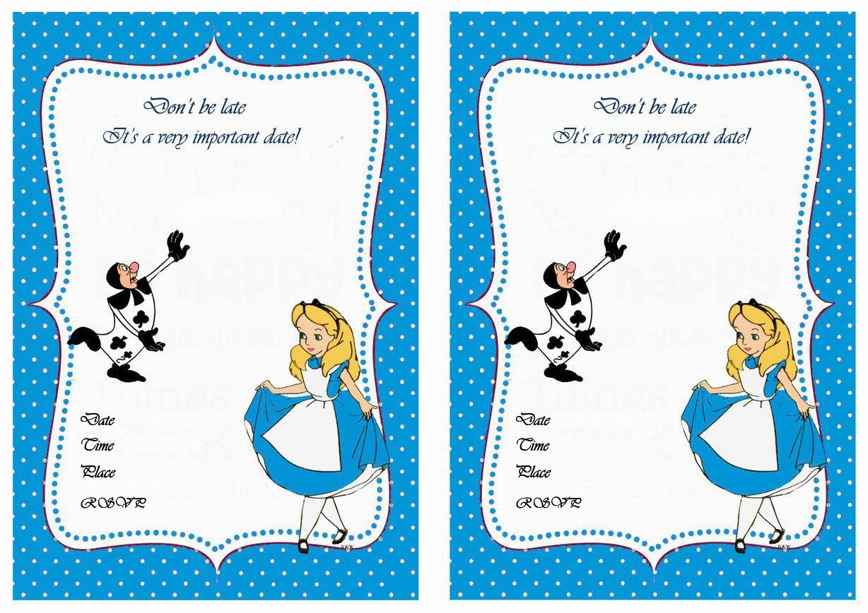 Alice In Wonderland Invitations Templates Alice In Wonderland Free Printable Birthday Party