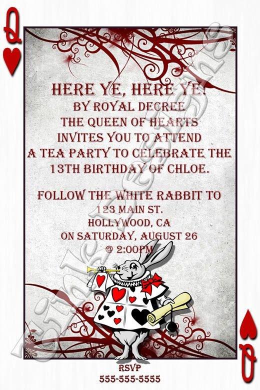 Alice In Wonderland Invitations Templates Alice In Wonderland Invitation Template 6