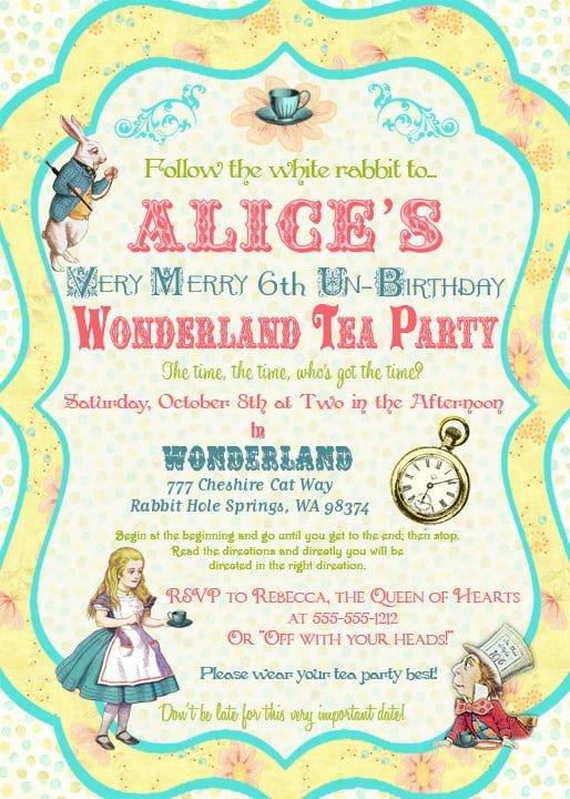 Alice In Wonderland Invitations Templates Alice In Wonderland Invitation Template Free