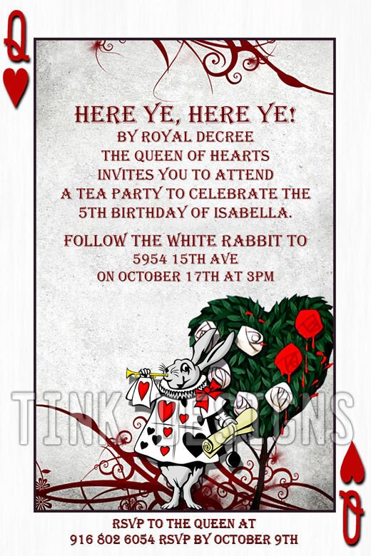 Alice In Wonderland Invitations Templates Alice In Wonderland Invitations Custom Personalized Baby