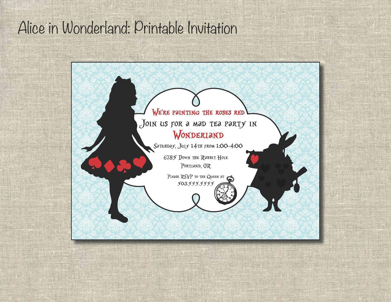 Alice In Wonderland Invitations Templates Alice In Wonderland Printable by Printablepartiesinc On Etsy