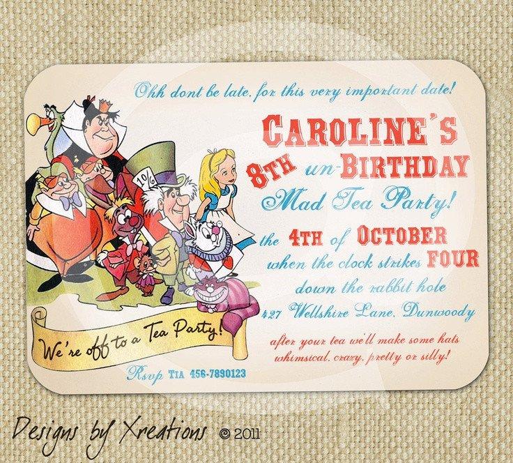 Alice In Wonderland Invitations Templates Alice In Wonderland Tea Party themed Invitation Digital