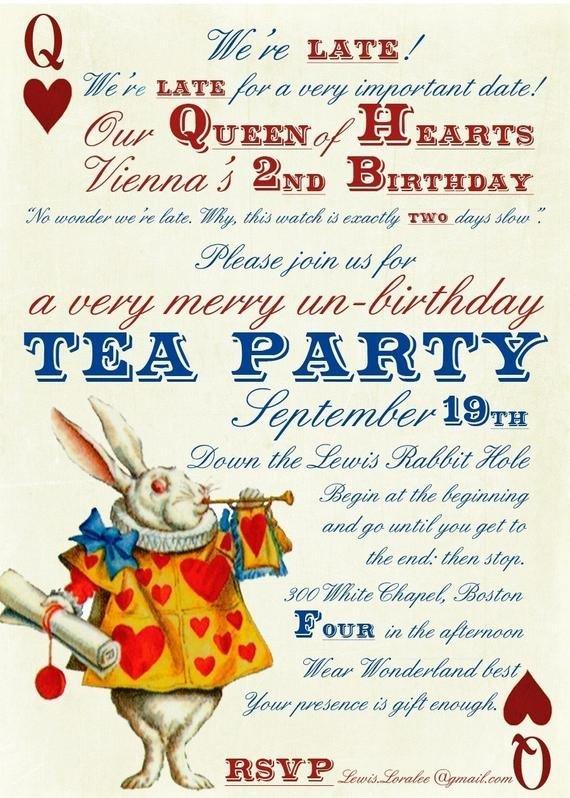 Alice In Wonderland Invitations Templates Alice In Wonderland Un Birthday Tea Party Invitations Digital