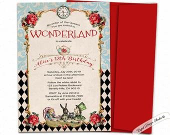 Alice In Wonderland Invitations Templates Elegant Alice In Wonderland Invitation Mad Hatter Tea Party