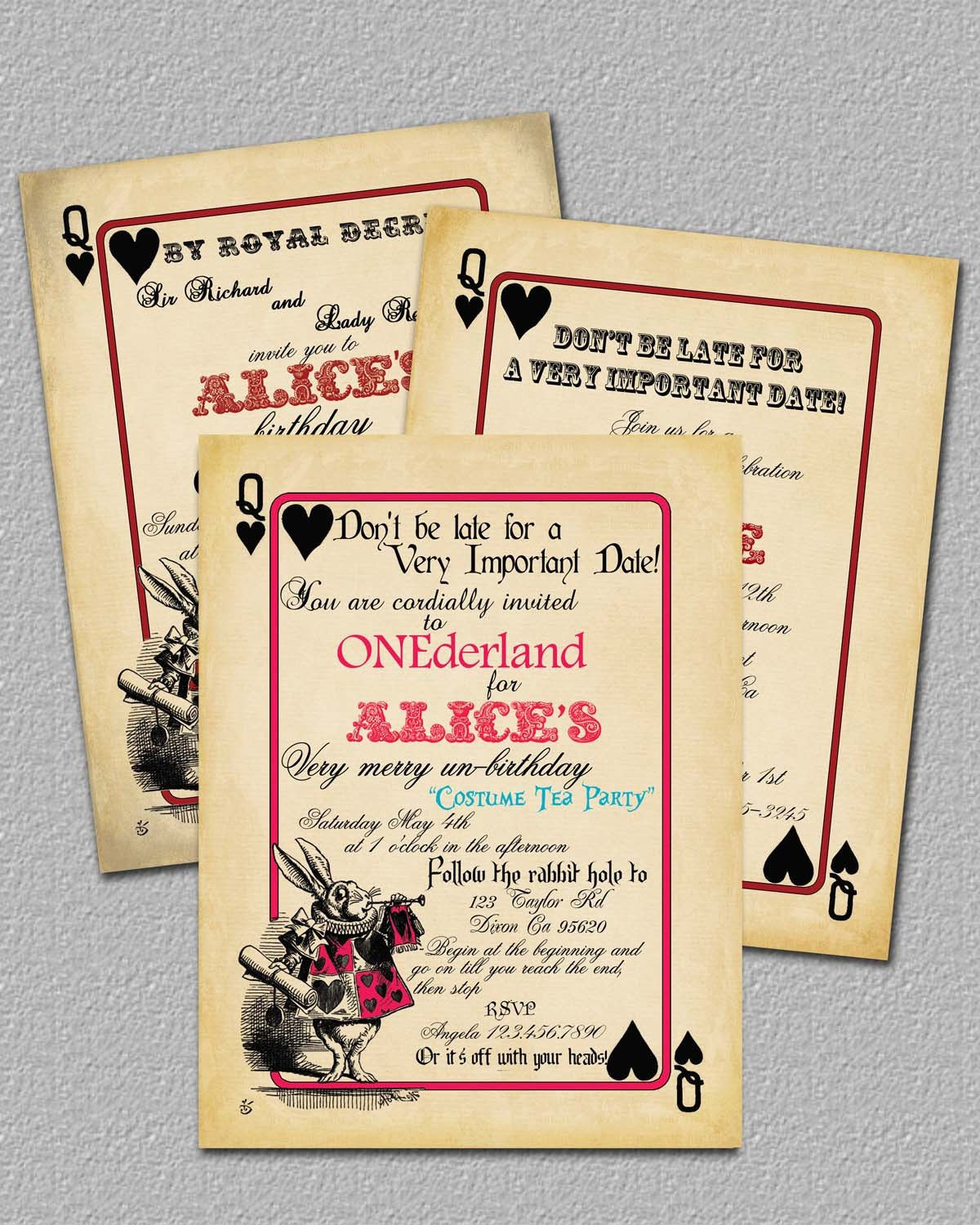 Alice In Wonderland Invitations Templates Items Similar to Playing Card Alice In Wonderland