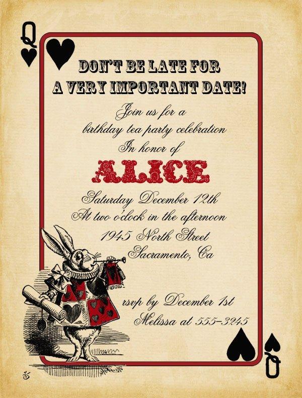 Alice In Wonderland Invitations Templates Playing Card Alice In Wonderland Invitation Bridal Shower