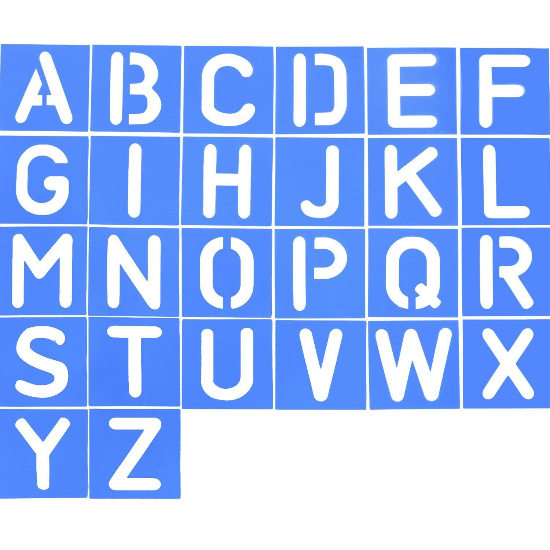 Alphabet Stencils for Painting Alphabet Letter Stencils Set Plastic Blue 26 Pcs