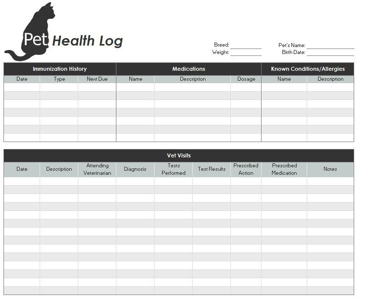 Anesthesia Record Template Excel 27 Of Printable Veterinary Medical Record Template