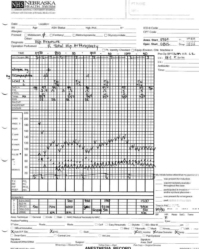 Anesthesia Record Template Excel Intraoperative Record Summary