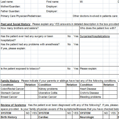 Anesthesia Record Template Excel Patient History Template Excel
