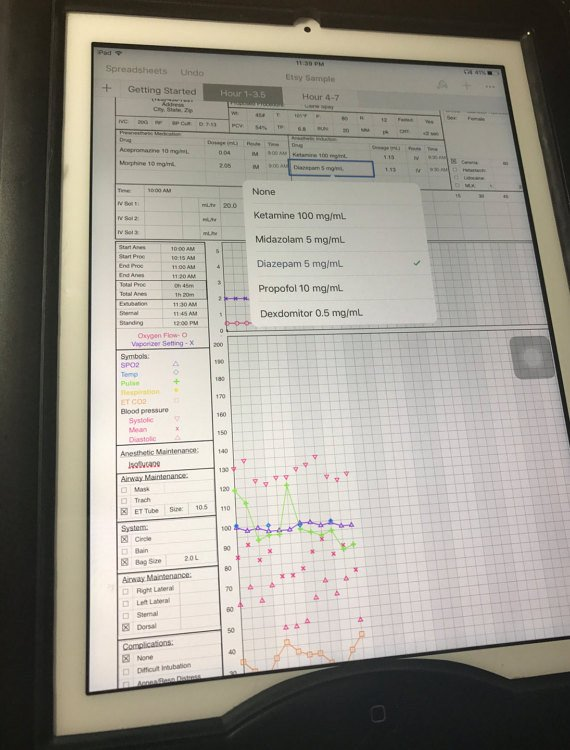 Anesthesia Record Template Excel the Oliver Frey Anesthetic Record