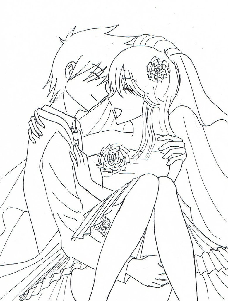 Anime Couple Template Anime Couple Outline Coloring Pages