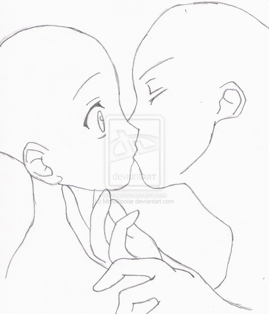 Anime Couple Template Anime Couples Kissing Poses Sketch Coloring Page