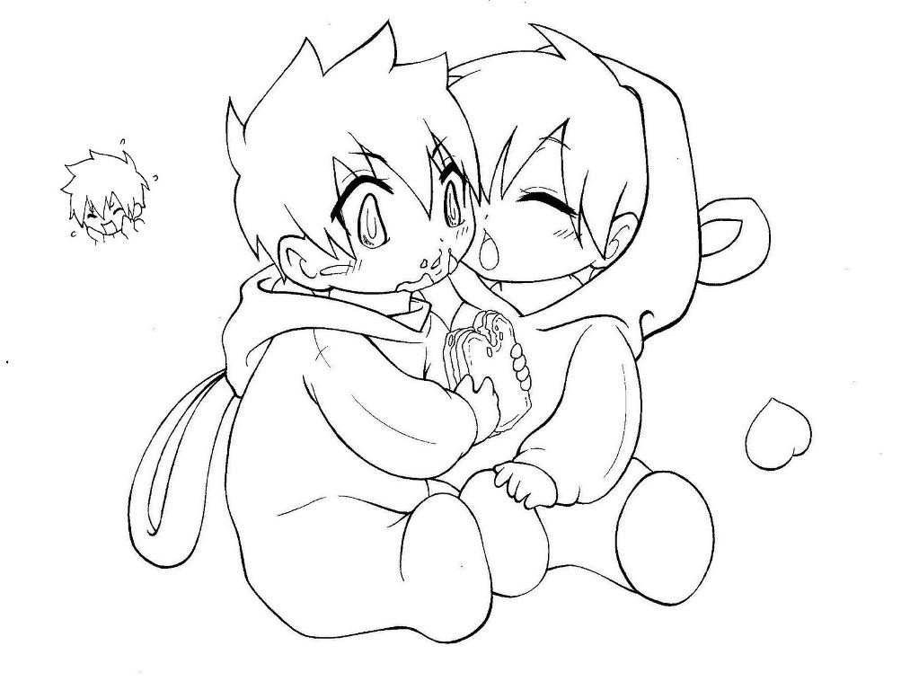 Anime Couple Template Chibi Body Coloring Pages