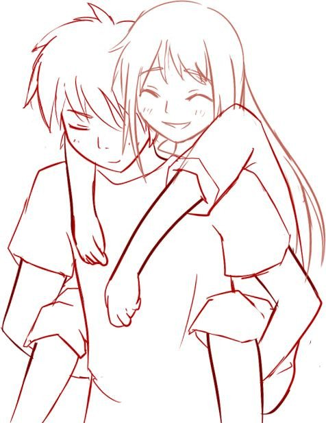 Anime Couple Template Piggyback Anime Template Everything Drawing