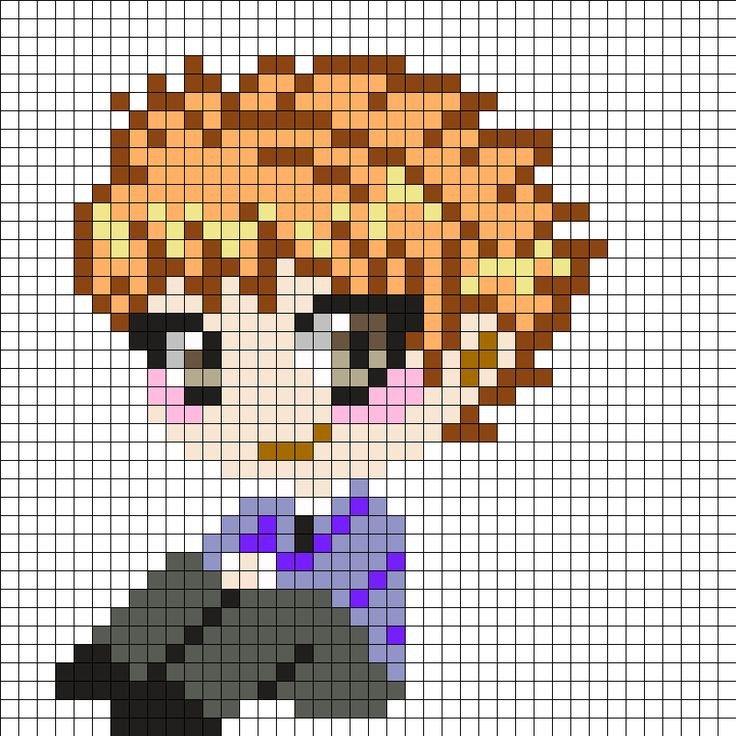 Anime Pixel Art Grid Hikaru and Kaoru Hitachiin Ouran High School Host Club