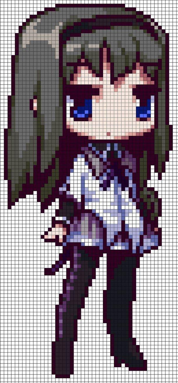 Anime Pixel Art Grid Homura Akemi Puella Magi Madoka Magica Perler Pattern by