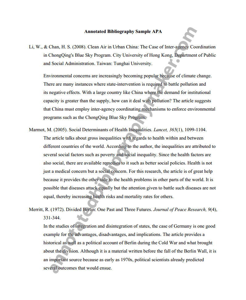 Annotated Bibliography Template Apa Annotated Bibliography Owl