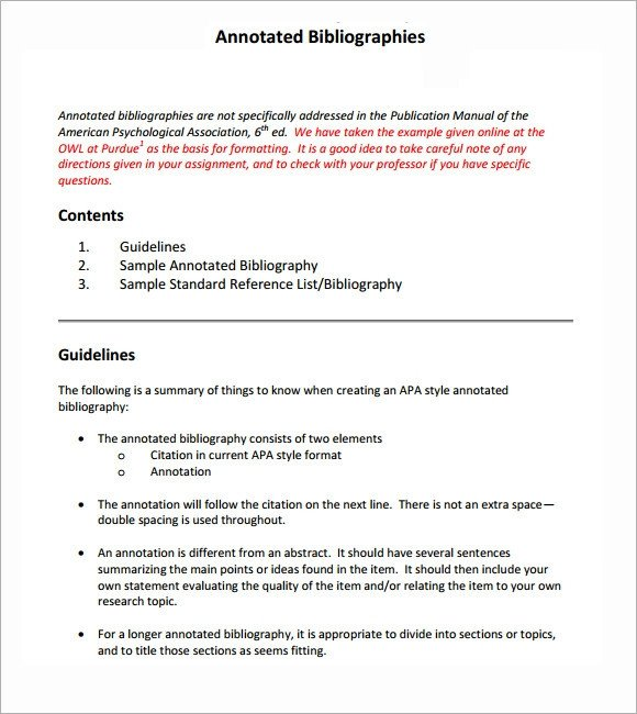 Annotated Bibliography Template Apa Sample Annotated Bibliography 5 Documents In Word Pdf