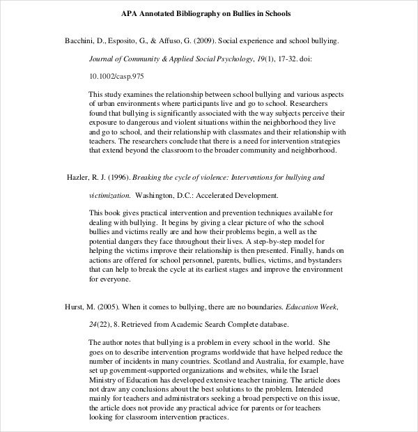 Annotated Bibliography Template Apa Teaching Annotated Bibliography Template – 10 Free Word