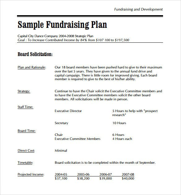 Annual Fundraising Plan Template Sample Development Plan Template 8 Free Documents In