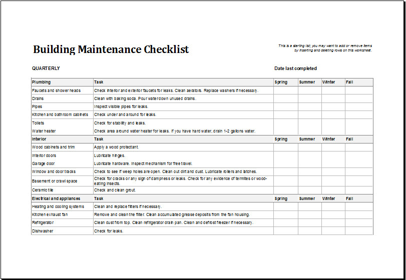 Apartment Maintenance Checklist Template 7 Facility Maintenance Checklist Templates Excel Templates