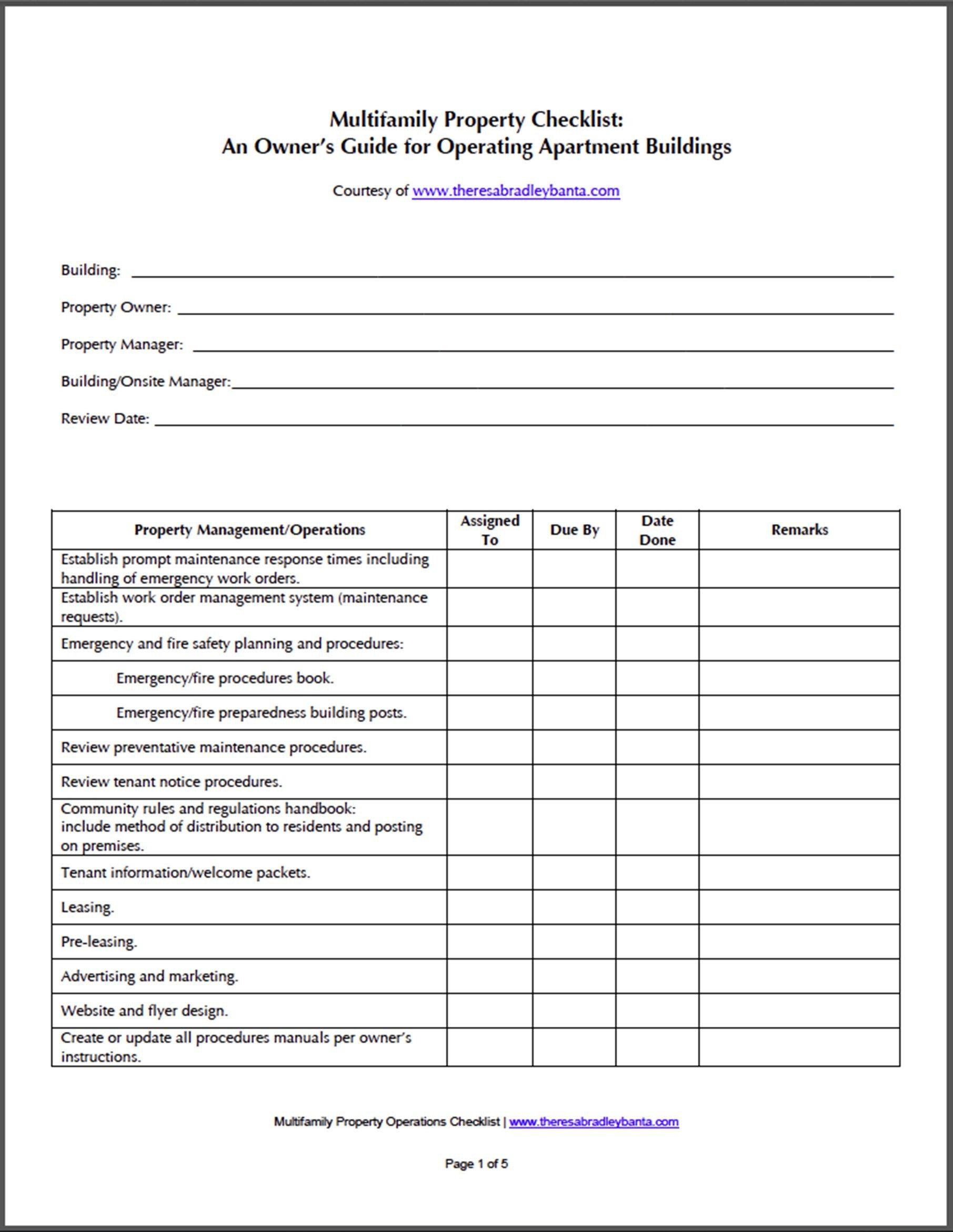 Apartment Maintenance Checklist Template Apartment Building Maintenance Checklist Related Keywords
