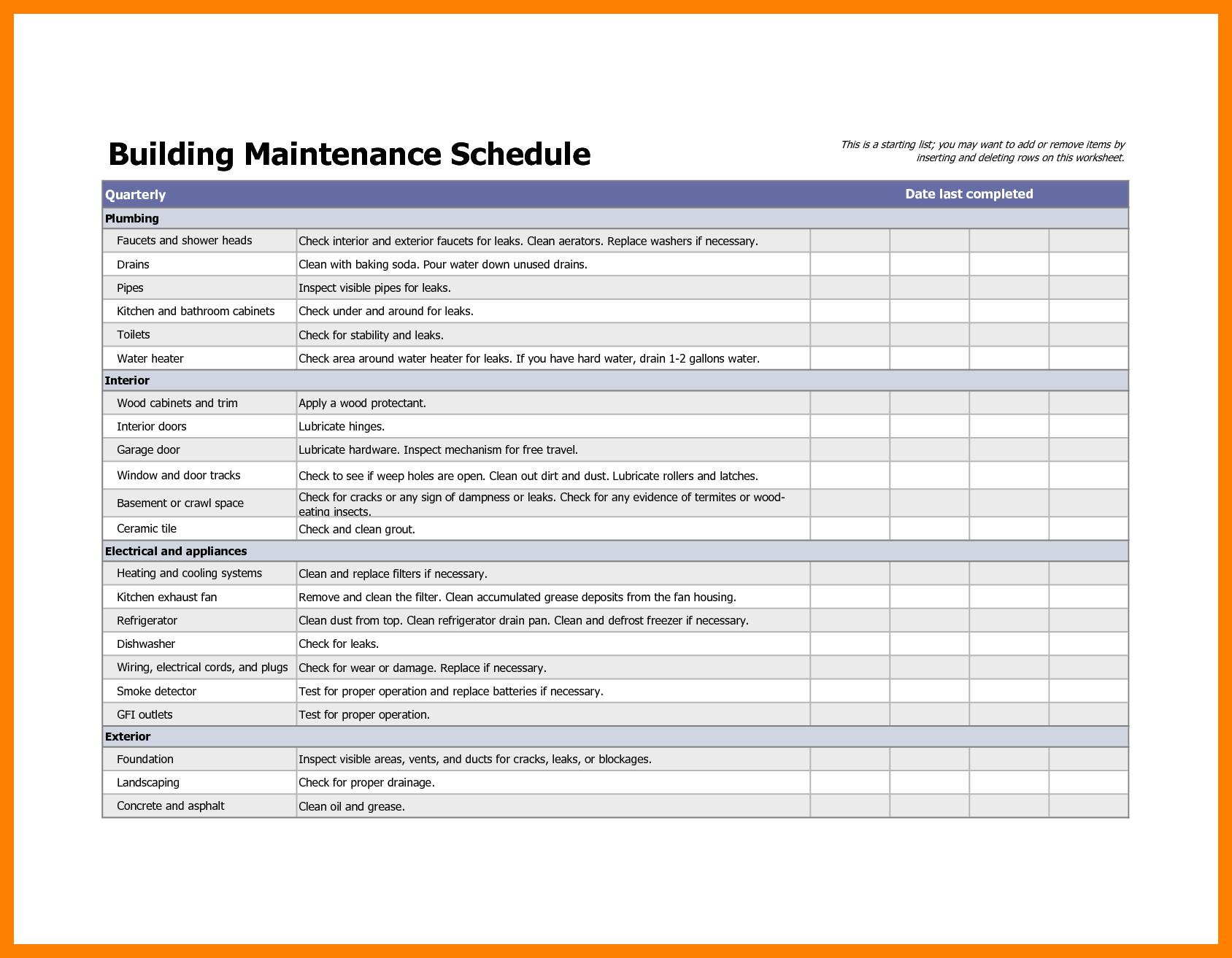 Apartment Maintenance Checklist Template Building Maintenance Checklists – Emmamcintyrephotography