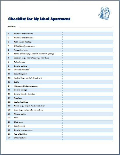 Apartment Maintenance Checklist Template Ideal Apartment Selecting Checklist Template