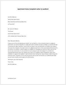 Apartment Noise Complaint Letter Apartment Noise Plaint Letter to Landlord