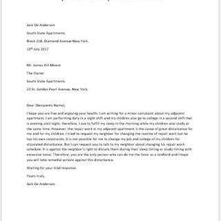 Apartment Noise Complaint Letter formal Ficial and Professional Letter Templates