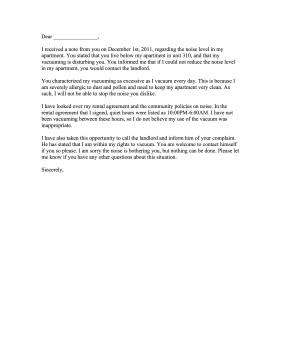 Apartment Noise Complaint Letter Noise Plaint Letter Response
