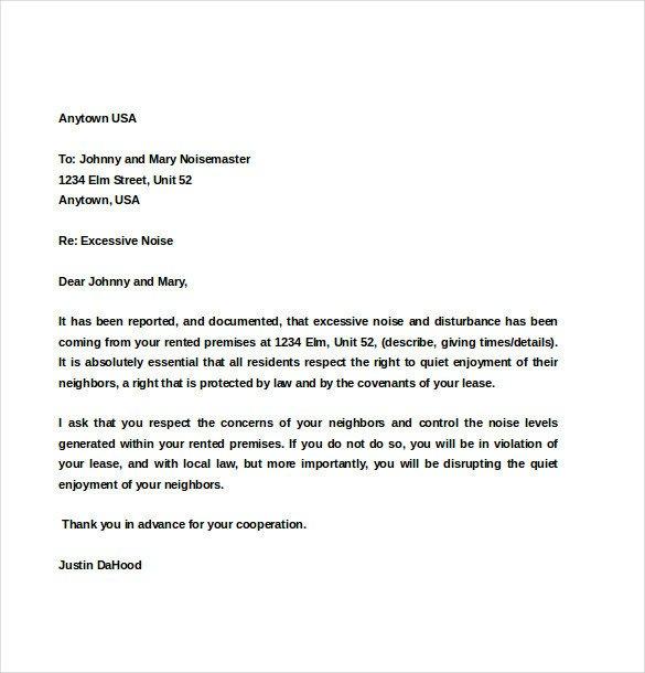 Apartment Noise Complaint Letter Noise Plaint Letter Template – 8 Free Word Pdf